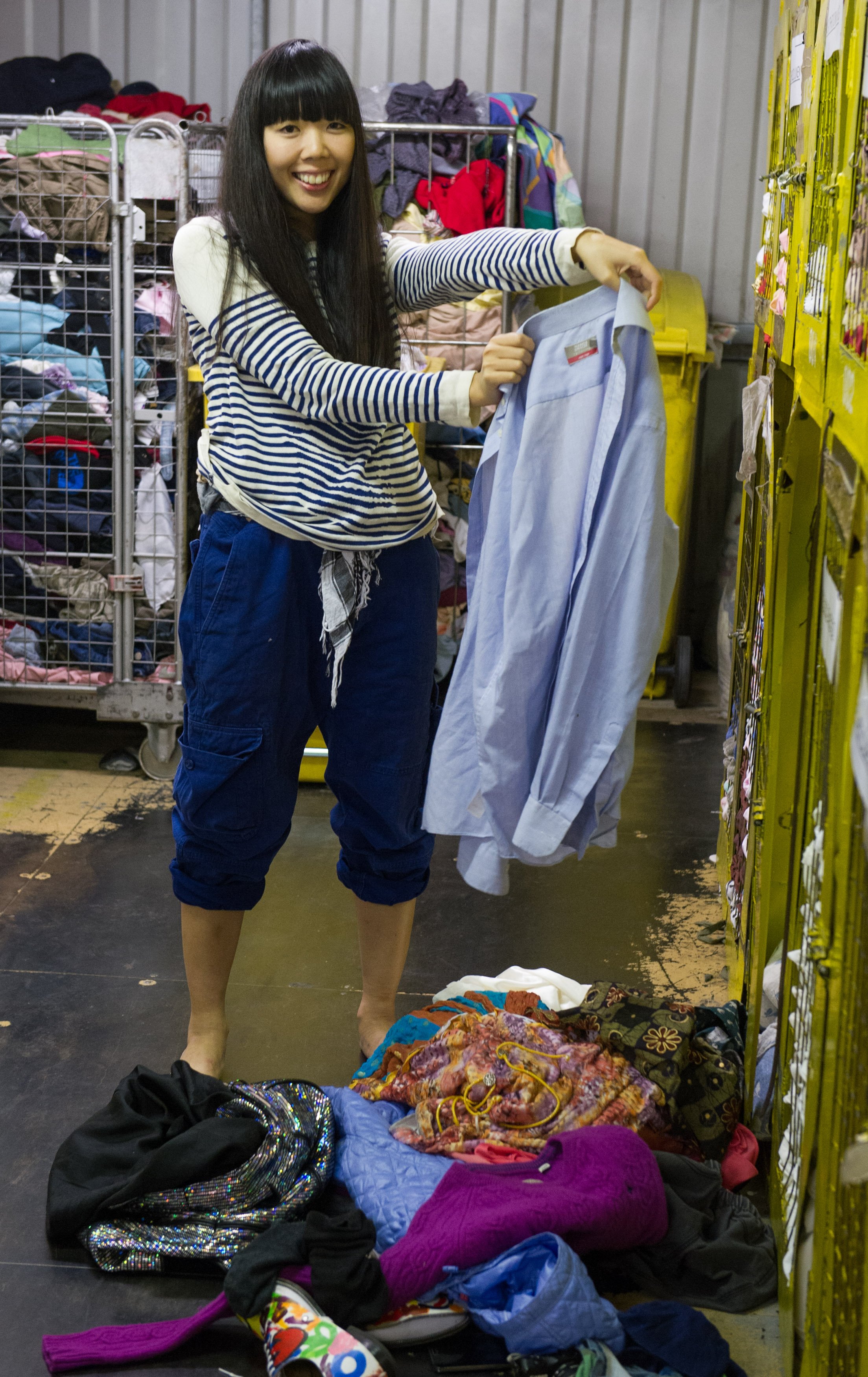 Fashion Salvage event  by loveyourclothes.org.uk LMB textile recycling warehouse, Canning Town, London